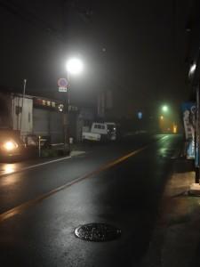 濃い霧が発生中